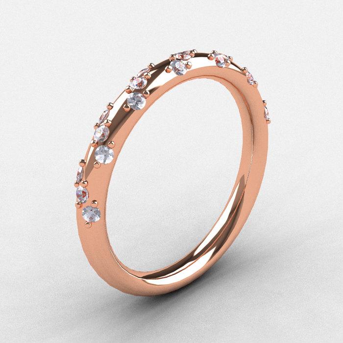 French Bridal 10K Rose Gold Diamond Wedding Band R185B 10KRGD 1