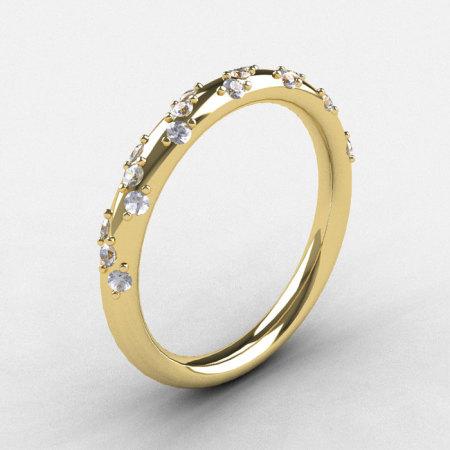 French Bridal 14K Yellow Gold Diamond Wedding Band R185B-14KYGD-1
