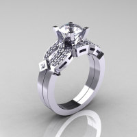 Classic 14K White Gold White Sapphire Diamond Solitaire Ring Single Flush Band Bridal Set R188S-14KWGDWS-1