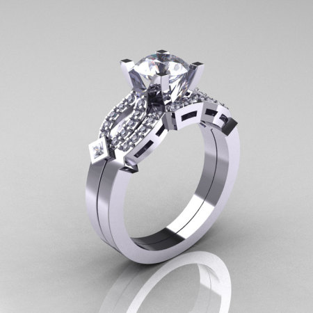 Classic 14K White Gold White Sapphire Diamond Solitaire Ring Single Flush Band Bridal Set R188S-14KWGDWS-1