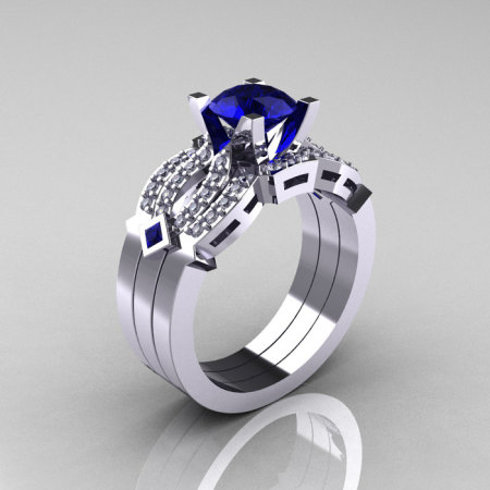 Classic 14K White Gold Blue Sapphire Diamond Solitaire Ring Double Flush Band Bridal Set R188S2-14KWGDBS-1