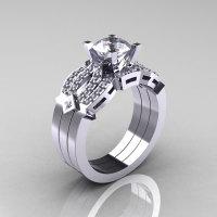 Classic 14K White Gold White Sapphire Diamond Solitaire Ring Double Flush Band Bridal Set R188S2-14KWGDWS-1
