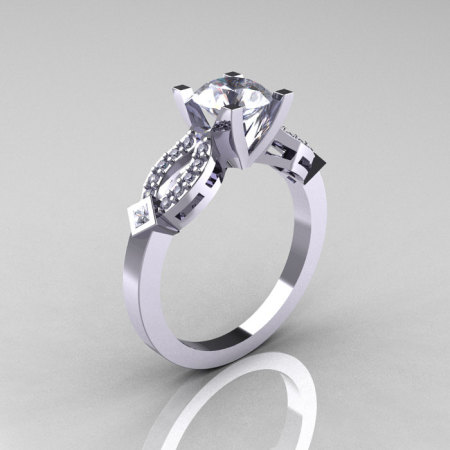 Classic 14K White Gold White Sapphire Diamond Solitaire Ring R188-14KWGDWS-1