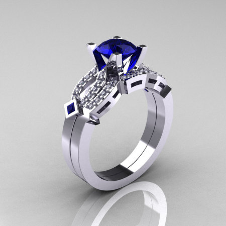 Classic 14K White Gold Blue Sapphire Diamond Solitaire Ring Single Flush Band Bridal Set R188S-14KWGDBS-1