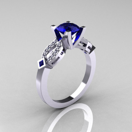 Classic 14K White Gold Blue Sapphire Diamond Solitaire Ring R188-14KWGDBS-1