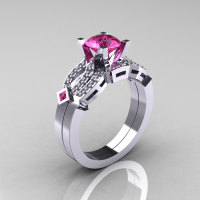 Classic 18K White Gold Pink Sapphire Diamond Solitaire Ring Single Flush Band Bridal Set R188S-18KWGDPS-1