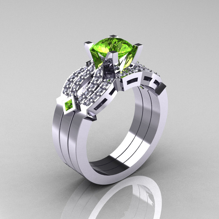 classic 10k white gold peridot diamond solitaire ring double flush band bridal set r188s2 10kwgdp - Peridot Wedding Rings