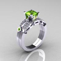 Classic 10K White Gold Peridot Sapphire Diamond Solitaire Ring Single Flush Band Bridal Set R188S-10KWGDP-1