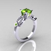 Classic 10K White Gold Peridot Diamond Solitaire Ring R188-10KWGDP-1