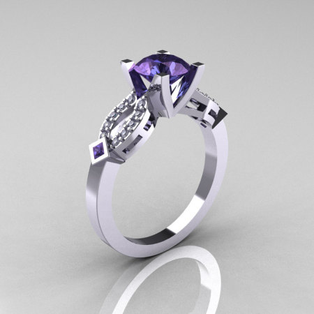 Classic 14K White Gold Alexandrite Diamond Solitaire Ring R188-14KWGDAL-1