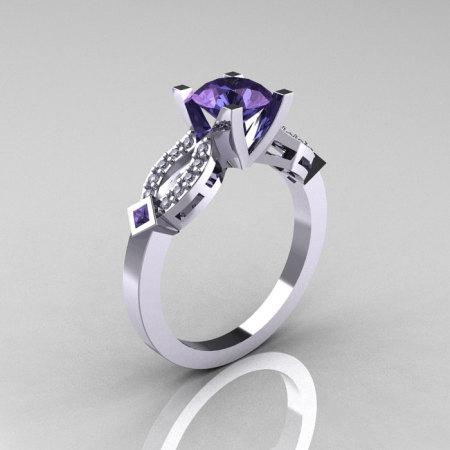 Classic 14K White Gold Alexandrite Diamond Solitaire Ring R188-14KWGDAL-1