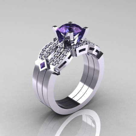 Classic 14K White Gold Alexandrite Diamond Solitaire Ring Double Flush Band Bridal Set R188S2-14KWGDAL-1