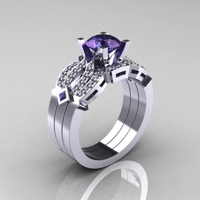 classic 14k white gold alexandrite diamond solitaire ring double flush band bridal set r188s2 14kwgdal - Alexandrite Wedding Ring