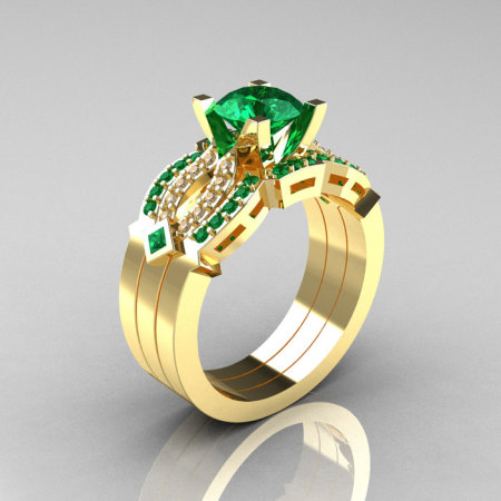 Classic 14K Yellow Gold Emerald Diamond Solitaire Ring Double Flush Band Bridal Set R188S2-14KYGDEM-1