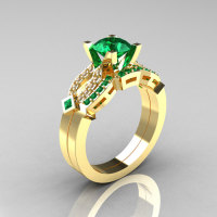 Classic 14K Yellow Gold Emerald Diamond Solitaire Ring Single Flush Band Bridal Set R188S-14KYGDEM-1