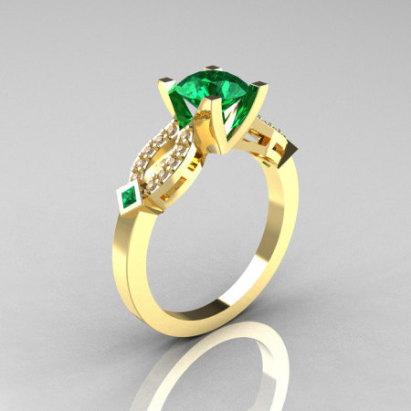 Classic 14K Yellow Gold Emerald Diamond Solitaire Ring R188-14KYGDEM-1