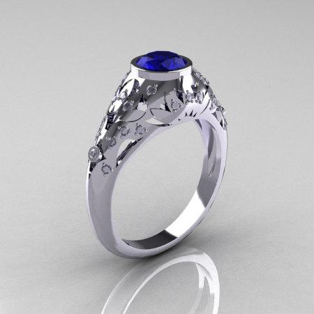 Modern Vintage 14K White Gold 0.65 Carat Blue Sapphire Pave Diamond Designer Ring R302-14WGDBS-1