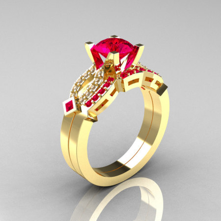 Classic 14K Yellow Gold Ruby Diamond Solitaire Ring Single Flush Band Bridal Set R188S-14KYGDRR-1