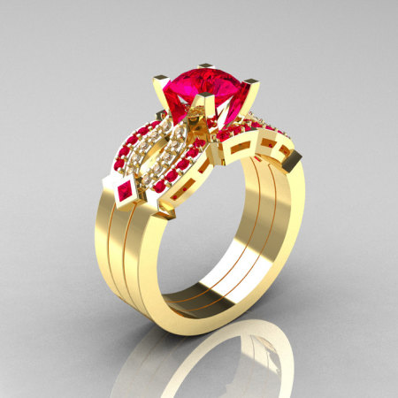 Classic 14K Yellow Gold Ruby Diamond Solitaire Ring Double Flush Band Bridal Set R188S2-14KYGDRR-1