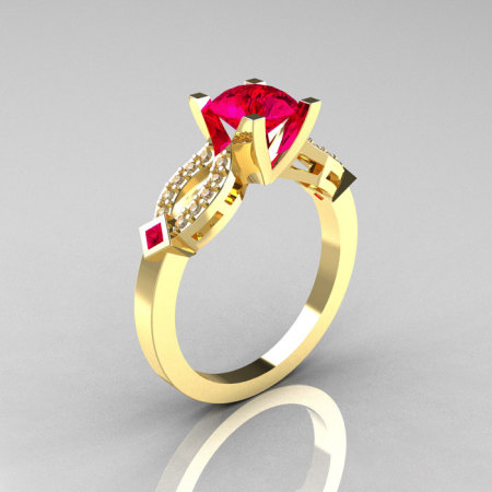 Classic 14K Yellow Gold Ruby Diamond Solitaire Ring R188-14KYGDRR-1