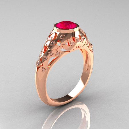 Classic 14K Rose Gold 0.65 Carat Ruby Diamond Engagement Wedding Ring R302-14KRGDR-1