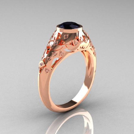 Classic 14K Rose Gold 0.65 Carat Black and White Diamond Engagement Wedding Ring R302-14KRGDBD-1