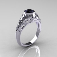 Classic 14K White Gold 0.65 Carat Black and White Diamond Engagement Wedding Ring R302-14KWGDBD-1