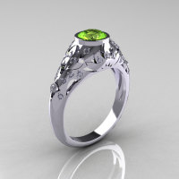 Classic 14K White Gold 0.65 Carat Peridot Diamond Engagement Wedding Ring R302-14KWGDP-1
