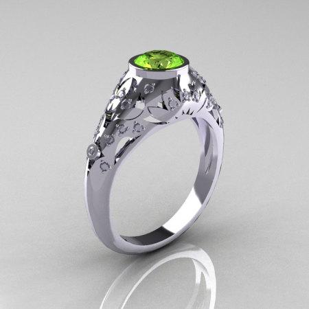 Classic 14K White Gold 0.65 Carat Peridot Diamond Engagement Wedding Ring R302-14KWGDP-1