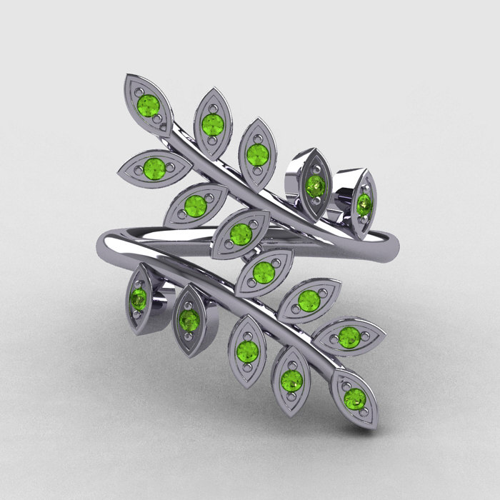 14k white gold peridot leaf and vine wedding ring engagement ring nn112 14kwgp 4 - Peridot Wedding Rings