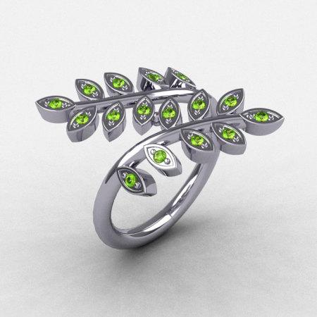 14K White Gold Peridot Leaf and Vine Wedding Ring Engagement Ring NN112-14KWGP-1