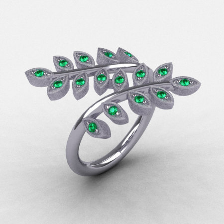Natures Nouveau 14K White Gold Emerald Leaf and Vine Wedding Ring NN112S-14KWGEM-1