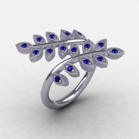Natures Nouveau 14K White Gold Blue Sapphire Leaf and Vine Wedding Ring NN112S-14KWGBS-1