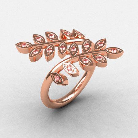 Natures Nouveau 14K Rose Gold Morganite Leaf and Vine Wedding Ring NN112S-14KRGMO-1