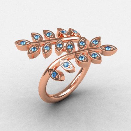 14K Rose Gold Aquamarine Leaf and Vine Wedding Ring Engagement Ring NN112-14KRGAQ-1