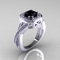 Classic 14K White Gold 1.23 CT Princess Black and White Diamond Engagement Ring R189P-14KWGDBD-1