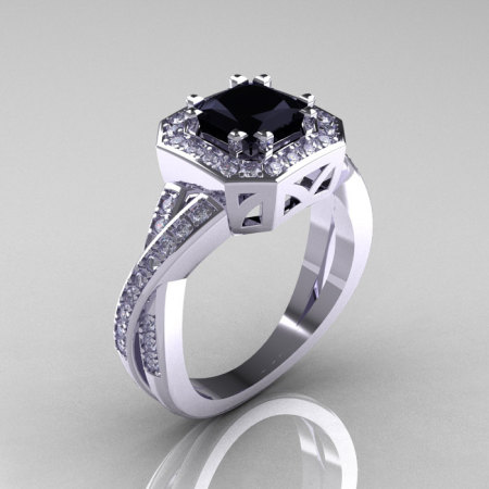 Classic 14K White Gold 1.23 CT Princess Black and White Diamond Engagement Ring R189P-14KWGDBD-1