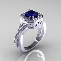 Classic 14K White Gold 1.23 CT Princess Blue Sapphire Diamond Engagement Ring R189P-14KWGDBS-1