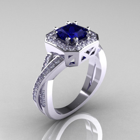 Classic 14K White Gold 1.23 CT Princess Blue Sapphire Diamond Engagement Ring R189P-14KWGDBS-1