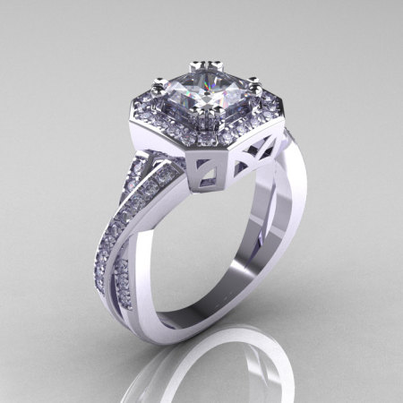 Classic 14K White Gold 1.23 CT Princess White Sapphire Diamond Engagement Ring R189P-14KWGDWS-1