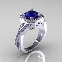 Classic 14K White Gold 1.0 CT Round Blue Sapphire Diamond Engagement Ring R189-14KWGDBS-1
