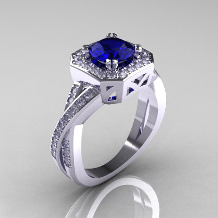 Classic 14K White Gold 1.0 CT Round Blue Sapphire Diamond Engagement Ring R189-14KWGDBS-1