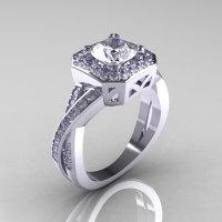 Classic 14K White Gold 1.0 CT Round White Sapphire Diamond Engagement Ring R189-14KWGDWS-1