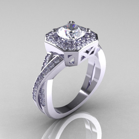 Classic 14K White Gold 1.0 CT Round White Sapphire Diamond Engagement Ring R189-14KWGDWS-1