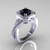 Classic 14K White Gold 1.0 CT Round Black and White Diamond Engagement Ring R189-14KWGDBD-1