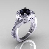 Classic 14K White Gold 1.0 CT Round Black and White Diamond Engagement Ring R189-14KWGDBD-1