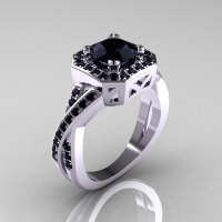 Classic 14K White Gold 1.0 CT Round Black Diamond Engagement Ring R189-14KWGBD-1