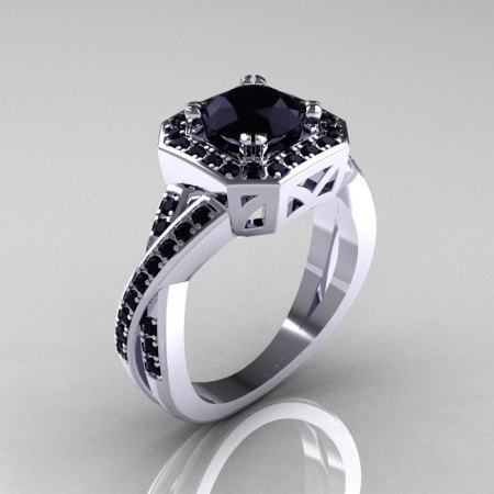 Classic 14K White Gold 1.0 CT Round Black Diamond Engagement Ring R189-14KWGBD-1