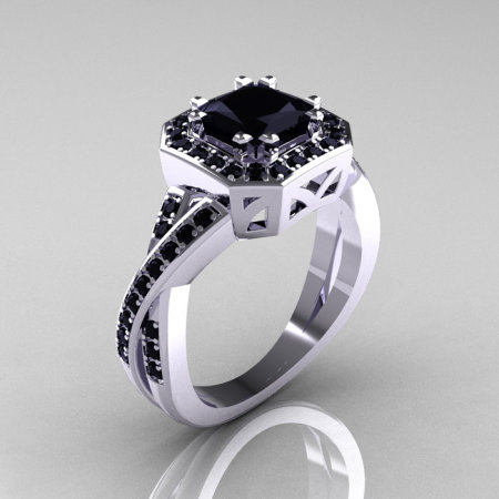Classic 14K White Gold 1.23 CT Princess Black Diamond Engagement Ring R189P-14KWGBD-1