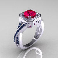 American Classic 14K White Gold 1.0 CT Round Ruby Blue Sapphire Diamond Engagement Ring R189-14KWGDBSR-1